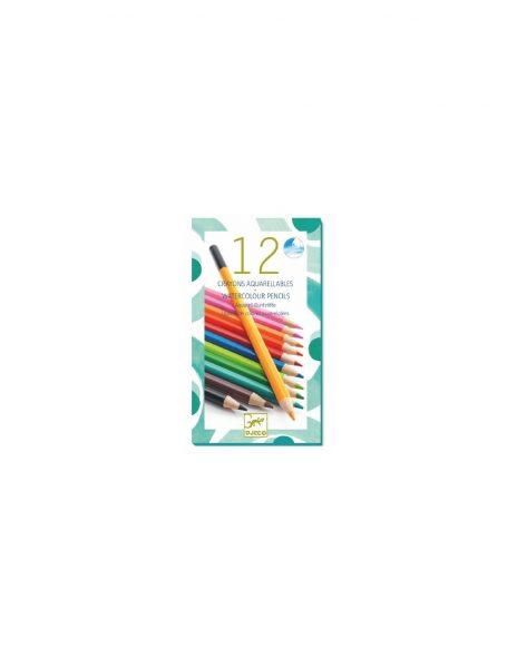 12 crayons de couleur aquarelle