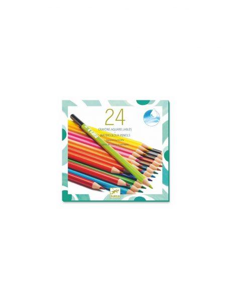 24 crayons de couleur aquarelle