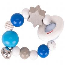 hochet bleu, gris, blanc