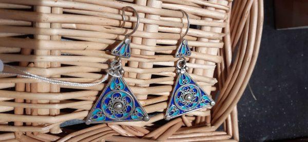boucles d'oreille triangle bleu argent