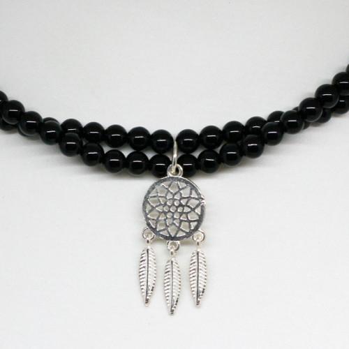 collier onyx noir – attrape rêve