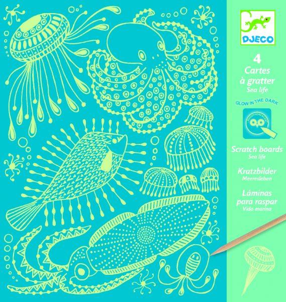 cartes à gratter océan phosphorescentes