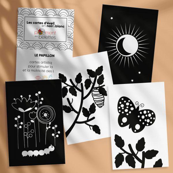 cartes d'éveil en noir et blanc