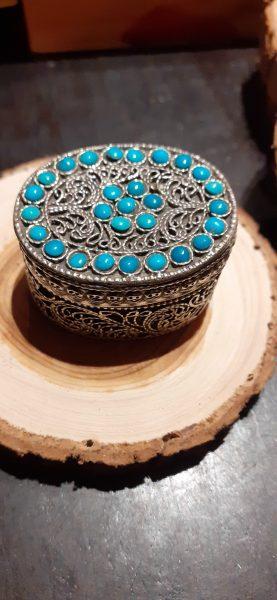 pilulier bleu argent