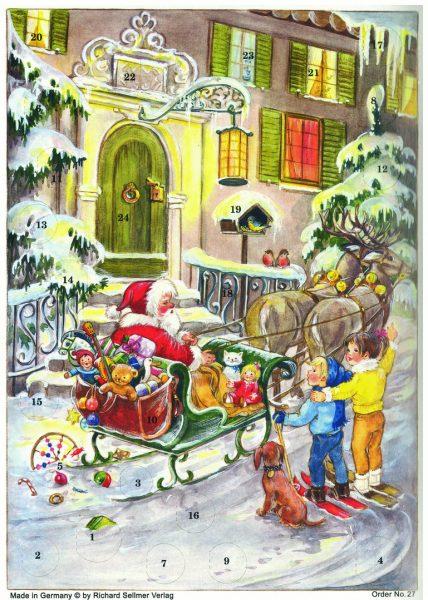 calendrier le Père-Noël et ses rennes A4
