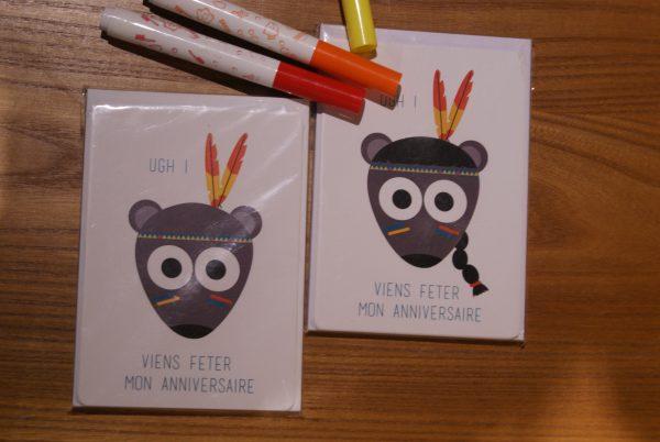 cartes invitation d'anniversaire (indiens ou indiennes)